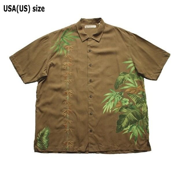 Men Embroidery Print Silk Short Sleeve Shirt Brown Casual Leaves Plus Size XL