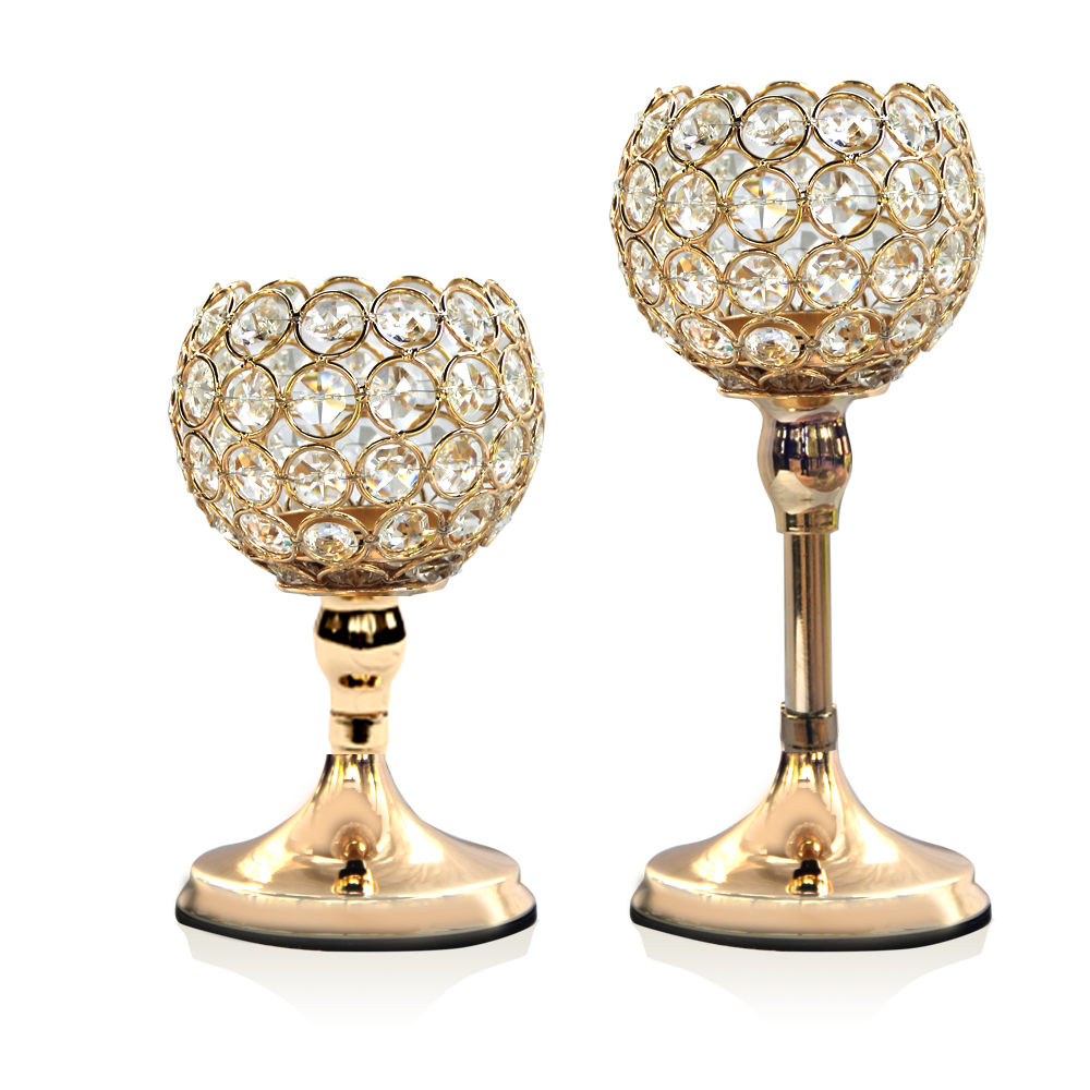 Glass Pillar Tealight Candle Holders Crystal Candlesticks Table Stands