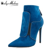 Onlymaker Women's Blue Boot Shoes Thin Hign Heel Pumps Shoes For Spring and Autumn Buckle Ankle Boot Plus Size 15