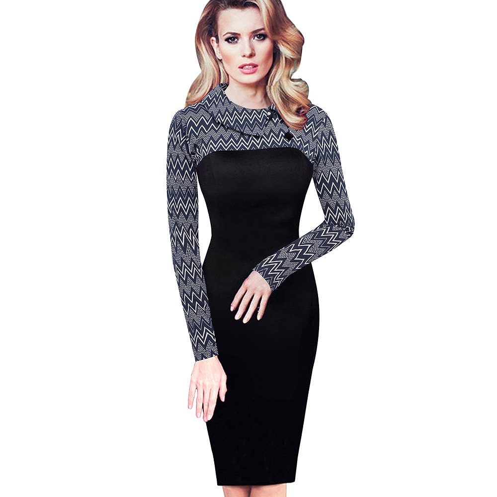 Nice-forever Elegant Vintage Fitted winter dress full Sleeve Patchwork Turn-down Collar Button Business Sheath Pencil Dress b238 11
