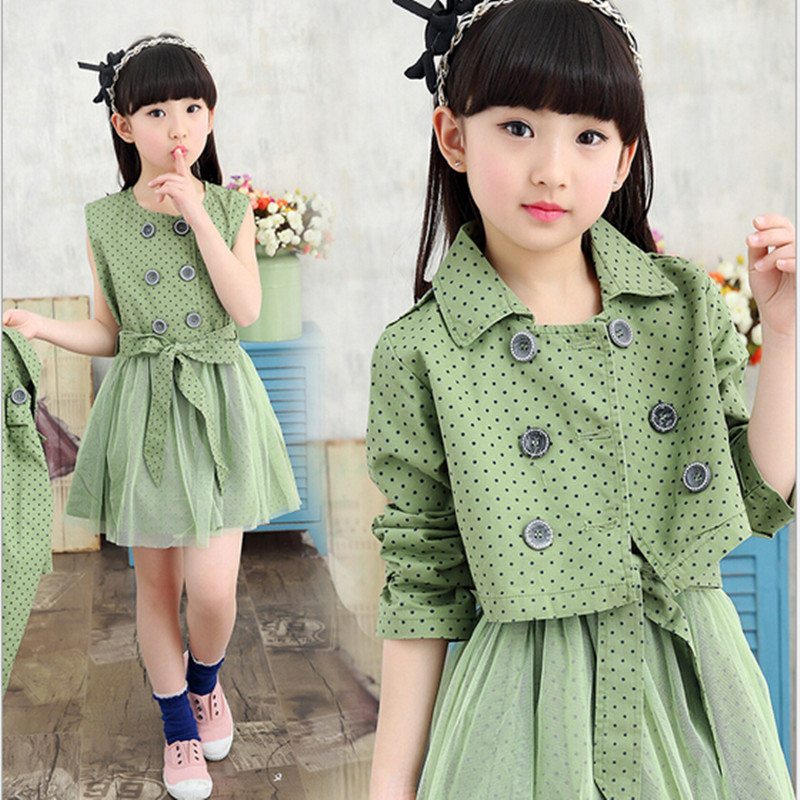 2016 Brand Girls Dot Clothes Set For Spring Autumn Girl Dress+Coat Two Pieces Print Clothes Kid School Cute Bow Clothes Hot Sale<br>