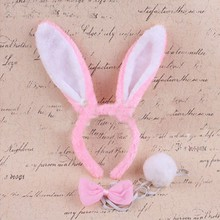 Cute Long Bunny Ears Headband Tie Tail Head Bands Fancy Dress Party Cosplay Costume Accessories
