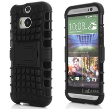 For HTC One M8 Case Hybrid Kickstand Rubber Rugged Hard PC+TPU Shockproof 2 In 1 With Stand Function Cover Cases(China)