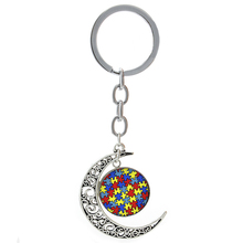 Autism Heart keychain Autism Awareness Jigsaw Puzzle Pieces autistic key chain ring Poker Card Game Controller T525(China)