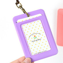 New PU Leather passport Bus Card Cover with Buckle Neck Lanyard Company Office Supply Name Badge Card Case Business Card Holder