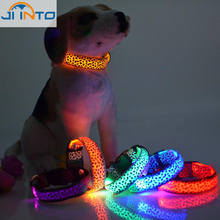 Pets Dogs Collar Necklace Night Safety Light Up Leopard Pattern LED Neck Strap Wholesale