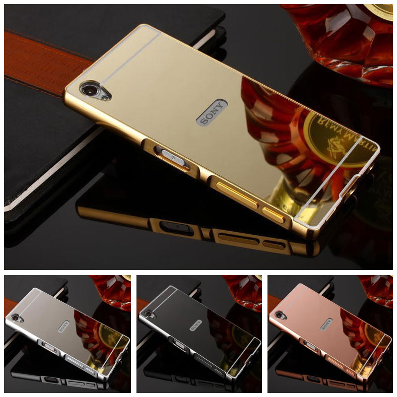 Sony Xperia Z1 Case Mirror Aluminum Metal Frame + PC Back Cover Sony Xperia Z1 L39h C6902 C6903 C943 C6906 Phone Cases