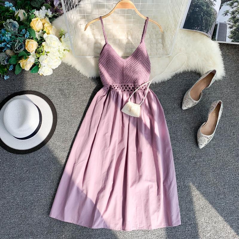 19 new fashion women's dresses Fresh openwork knit stitching V-neck strap high waist dress 2
