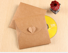 Qin,01.03 Heart Kraft CD Paper Case Bag,Blank Kraft Envelopes, Natural color Plain Kraft Paper Gift Bag,Party Cards Paper bag