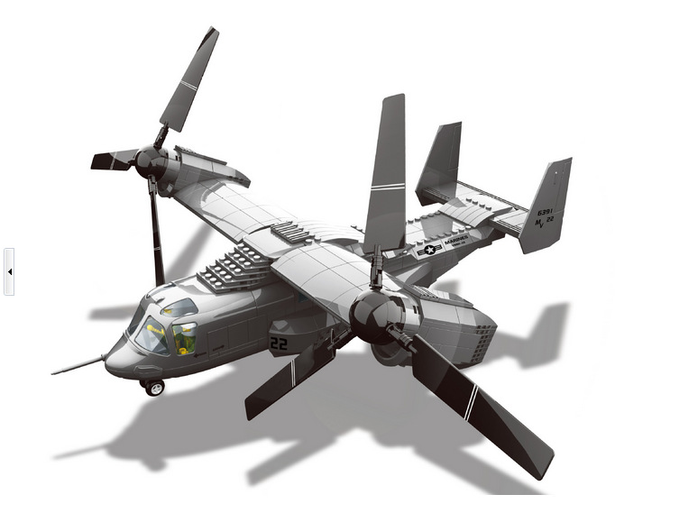 Military Toy American V-22 Osprey Tiltrotor Aircraft Medium Transport Aircraft Building Block Sets Compatible With Lego<br>