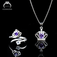 Hot Sale 925 Sterling Silver Jewelry Set Purple Cubic Zirconia Crown Pendant Necklace Adjustable Rings For Women Jewelry Gift