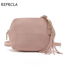 REPRCLA Fashion Matte PU Leather Shoulder Bags Candy Color Shell Women Messenger Bags Crossbody Tassel Ladies Bag Handbags(China)