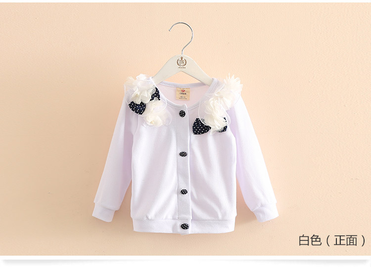 2018 Spring and Autumn Bow Decoration Baby Child Girl Lace Patchwork Pure White and Blue Long-Sleeve Cardigan Top Outerwear (12)