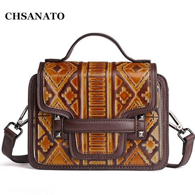 CHSANATO Satchel Messenger Bag Vintage Designer Handbags High Quality Briefcase Bag Lady Retro Crossbody Bags For Women<br>