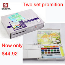 Two set promotion Sakura 24 colours watercolour paint box and Sakura mini18 colours watercolour paint box solid petit watercolor(China)