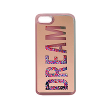 2017 Fashion summer cool flare star sequin glitter liquid quicksand golden dream letter plating mirror tpu case cover For Iphone