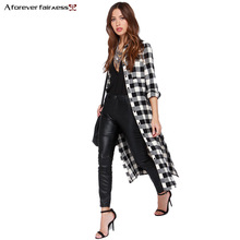 2016 Windbreaker Women Trench Coat Punk style Long Plaid Shirt Slim Fashion Trench Coat Casual Maxi Coats Female casaco NC-726