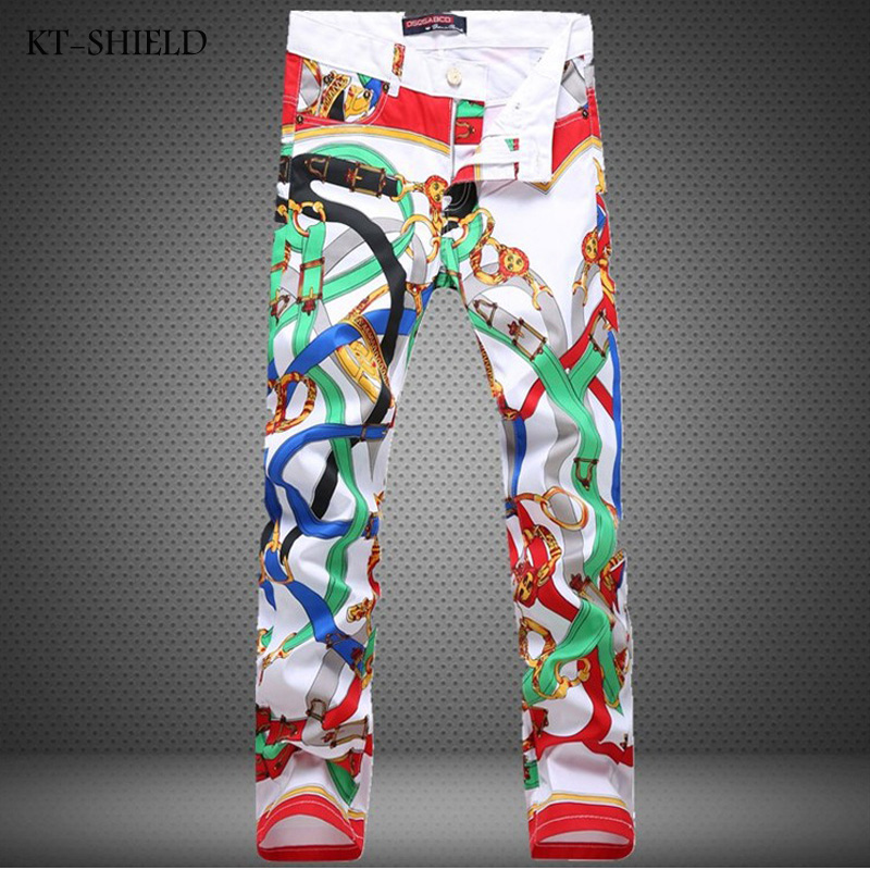 New Famous Designer Brand 3D Printed Jeans Men fashion Mens Biker Jeans Slim Fit Denim Casual Skinny jeans homme vaqueros hombreОдежда и ак�е��уары<br><br><br>Aliexpress