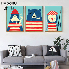 HAOCHU Triptych Nordic Marine Animal Navy Sea Lion Bear Penguin Oil Painting Canvas Picture Kids Nursery Room Decor Chic Gifts
