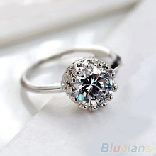 Women Bridal Wedding Engagement Gothic Crown Zircon Gem Alloy Ring Jewelry 2KNW