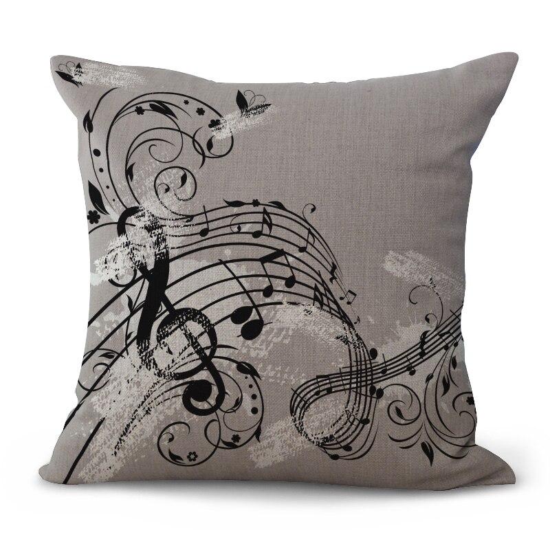 Decorative Pillow Cushion Case music Festival Note Fashion Pillowcase 17.5 Inch Cotton Linen Chair Seat Throw Pillow Cover C1087