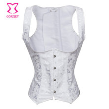 Plus Size White Jacquard Cupless Bridal Corset Underbust Steel Boned Corsets And Bustiers Sexy Lingerie Corpetes E Espartilhos