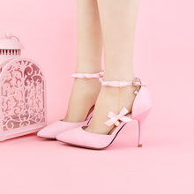 Pink Bows Lace Flowers Bridal Shoes High with 9cm wrist strap dress shoes Sandals wedding shoes