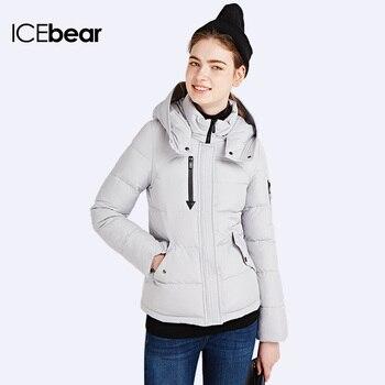 ICEbear 2016 Горячей Продажи Ветрозащитный Зима Короткая Куртка Девушки Мода Тонкий Плюс Размер Шляпа Съемный Куртка Стенд Воротник Пальто 16G6179