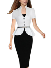 Stand Neck Button Office Dress For Work Elegant Formal Midi Pencil Dress Black White Dress Free Shipping 2016 Ladies Fashion