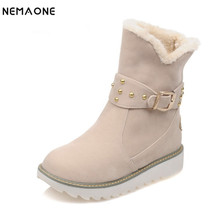 NEMAONE warm faux fur waterproof snow boots women winter fashion ankle boots big size black brown beige color dropshipping