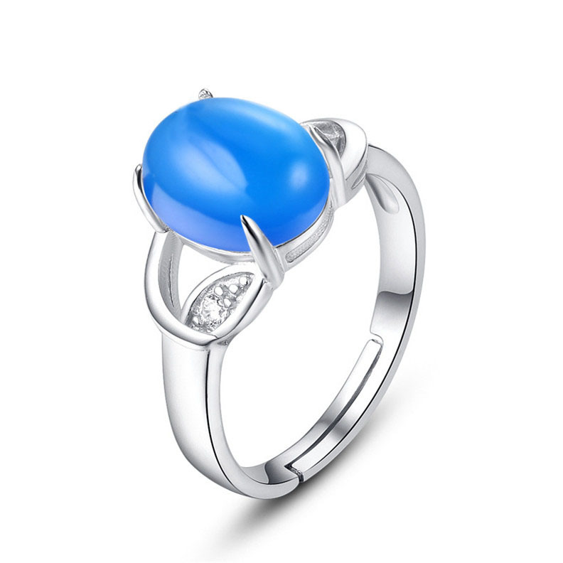 ring blue aqua set silver rings chalcedony pin gemstone bezel