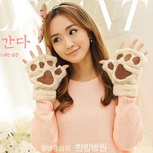 Hot Fluffy Warm Winter Bear Gloves Cat Plush Paw Claw Glove Soft Toweling Lady's Half Covered Wool Mittens Warmer Finger