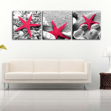 Oil Paintings Modern Framework Seascape Pictures Still Life Of Starfish Shells On Sandy Beach 3 Pieces Photo Prints On Canvas(China)