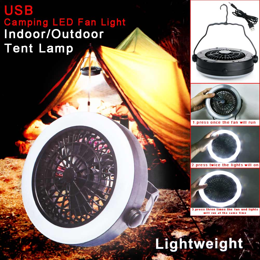 Multifunction 2 in 1 Outdoor Portable USB Rechargeable LED Fan Light Tent Lamp With Hook Camping Travel Lantern