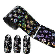 100cmx4cm Shinning Snowflake Nail Art Transfer Foils Sticker Beauty Adhesive Polish Wrap Nail Tips Decorations SASTZXK79