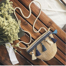 Summer Bohemia Knitted Straw Fashion Women's Bags Beach Woven Indian Tote Luxury Famous Brand Bags Shooping Bag(China)