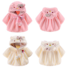 Baby Wear Fur Coat Baby Girls Cute Cat Pattern Tops Coat with Ear Shape Warm Cloak Jacket Soft Coat(China)