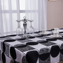 MGHEYUD 1 Piece Geometric Black and White Table Cloth Oxford Cloth Modern Hotel Party Dining Decoration Table Covers Big Size