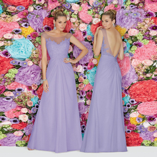 Lavender Cheap Bridesmaid dresses with Applique Lace Beads Long Wedding party gowns A line Chiffon Girls Party dress Backless hu