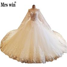 Wedding Dress 2017 The High-end O-neck Luxury Lace Sweep Train Princess Sexy Illusion With A Cape Noble Ball Gown F(China)