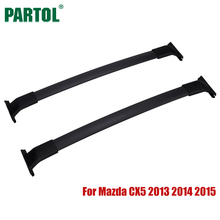Partol Car Roof Rack Cross Bars Crossbars Kit Black Aluminum 60KG/132LBS Cargo Luggage Carrier Top for Mazda CX5 2013 2014 2015(China)
