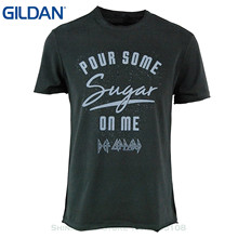 GILDAN Mens T Shirts Fashion 2017 Clothing Def Leppard T Shirt - Mens Amplified Pour Some Sugar On Me Charcoal