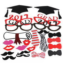 24pcs Graduation Party Decoration Photo Booth Props Paperboard Bachelor Cap Certificate Party Photo Props Decor On A The Stick