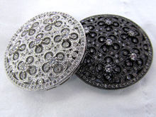 Flower Micro pave Diamond Pave CZ roundel chanel X Pendant, peace, gunmetal silver round Charm beads multi strand connector 40mm(China)
