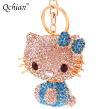Fashion Crystal Small Hello Kitty Cat Car Keychain Girls Keychain Quality Alloy With Rhinestone Gift Key chains Free Shipping(China)