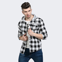 New Fall Winter Hip hop Plaid Shirt Men Street Fashion Clothing Long Sleeve Snap Buttons Hooded Casual Shirts Chemise Jackets(China)