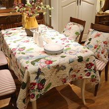 New American garden cotton Square rectangle embroidery Tablecloth table cloth dinner mat Europe Mat table cover wholesale FG256