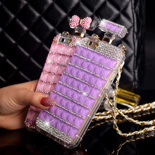 Luxury Diamond Perfume Case Handbag Bow Bowknot Chain perfume bottle Case Cover For iPhone 7 6 6s plus 4 4S 5 5S SE capa para