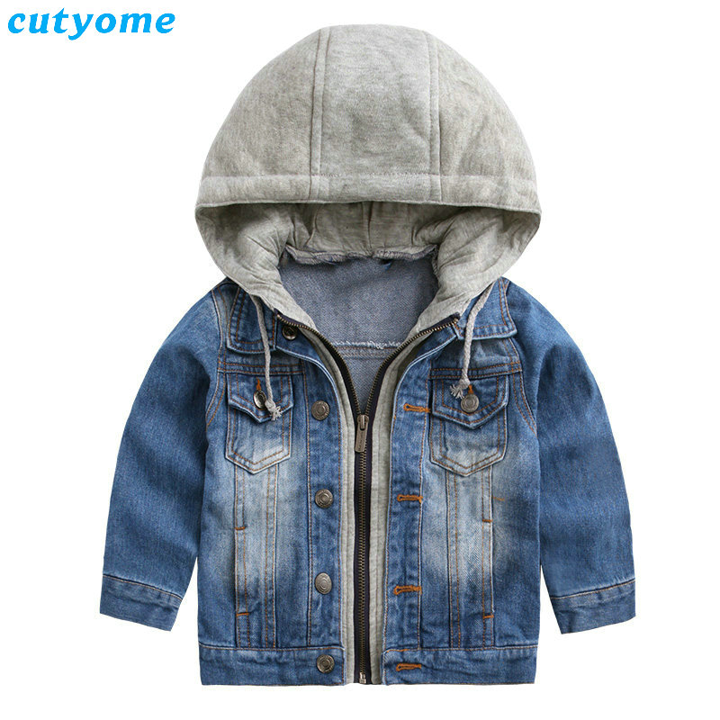 2017 Rushed Hot Sale Fashion Full Baby Denim Hooded Jacket For Girl Kids Sleeve Outwear Coat For Clothes Children Boy Jean 2-7y <br>