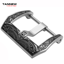 New silver brushed stainless steel strap watch with a needle bail 22mm / 24mm carved etching pattern buckle free shipping(China)